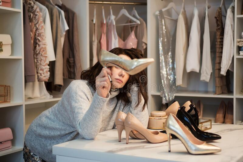 Woman in dressing room stock images