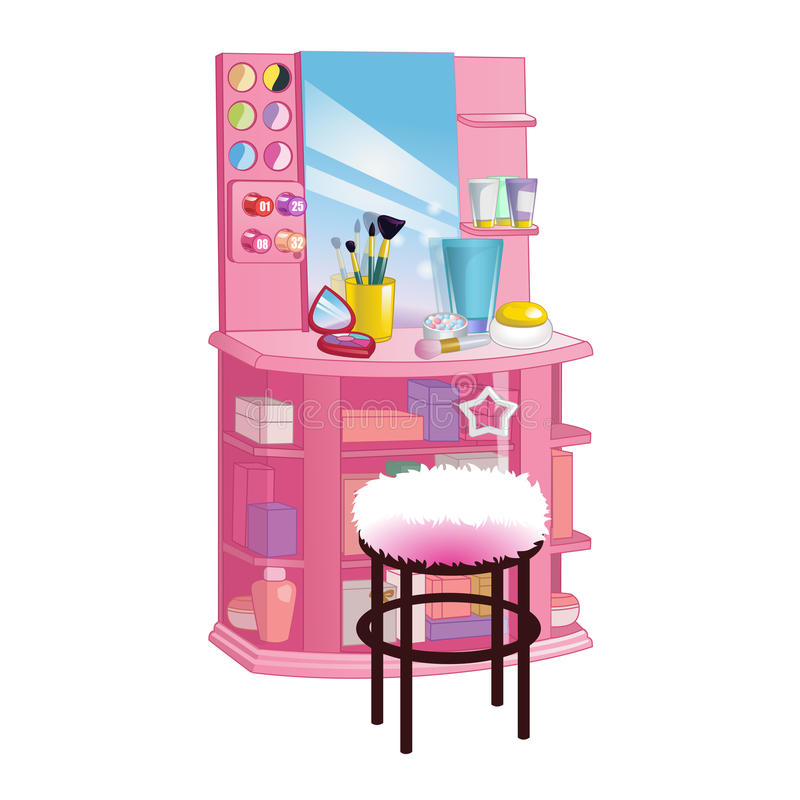 Woman dressing table with mirror, chair and cosmetic. Flat style illustration. Woman dressing table with big mirror, chair and cosmetic. Flat style illustration royalty free illustration