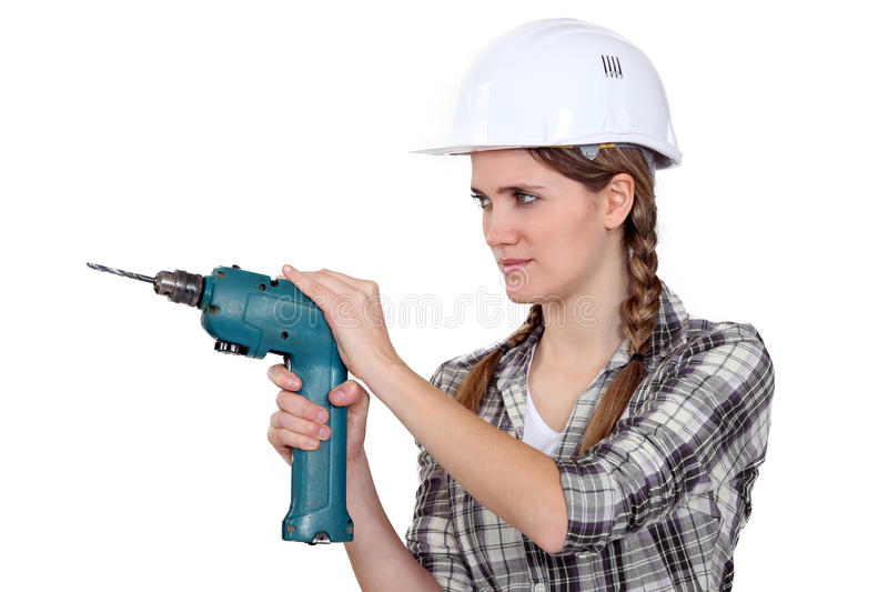 Download Woman With A Drill Stock Photo - Image: 26585630