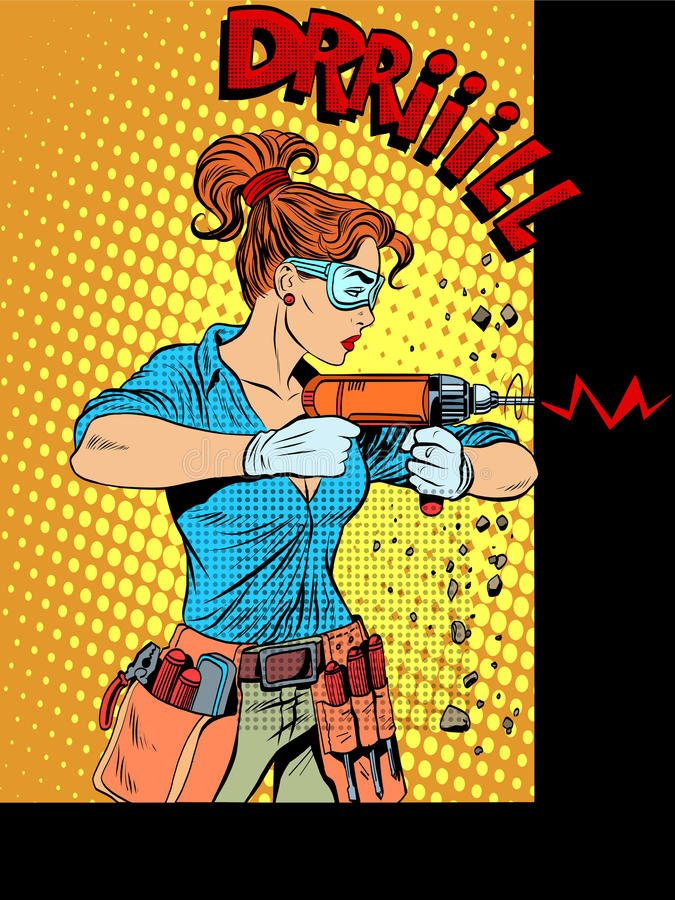 Woman drilling wall drill. Pop art retro style. Home appliances, electric tools. The woman professional repairman vector illustration