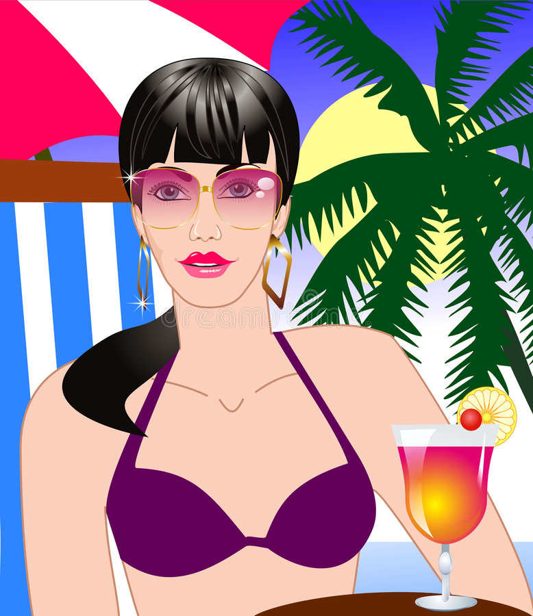 Woman with a drink on a beach stock photography