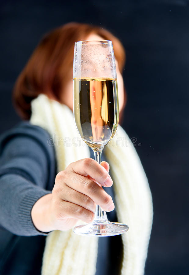 Woman drink champagne royalty free stock images