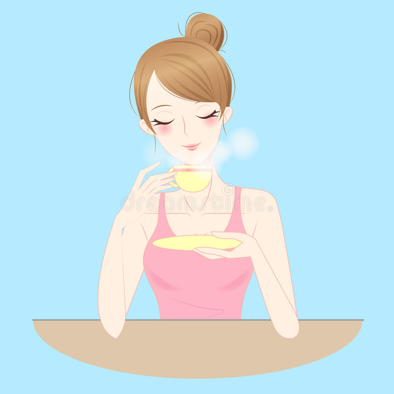 Woman drink tea or coffee royalty free illustration