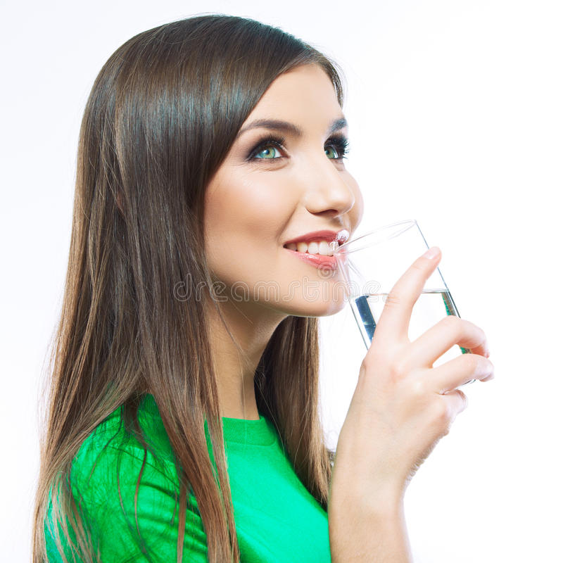 Woman drink water stock images