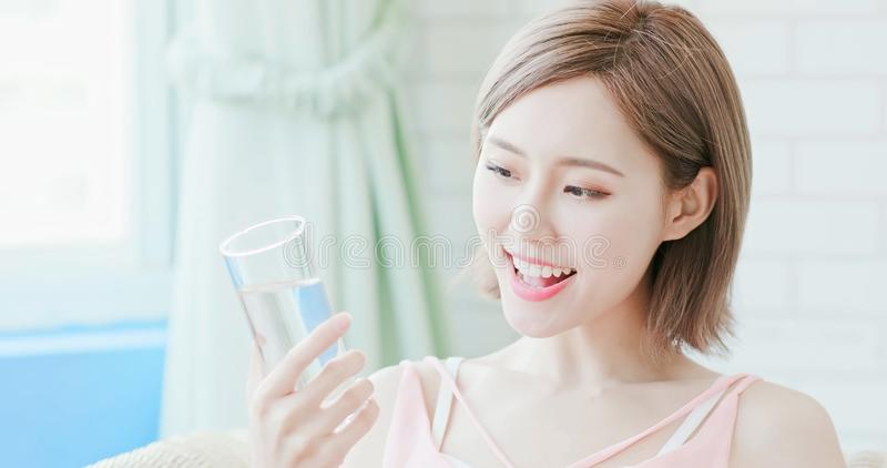 Woman drink water stock image