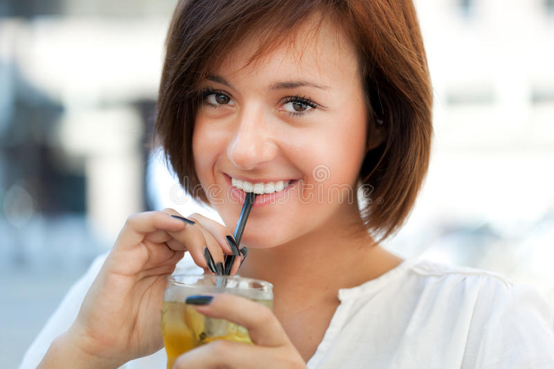 Download Woman drinking stock photo. Image of girl, looking, cafe - 26611892