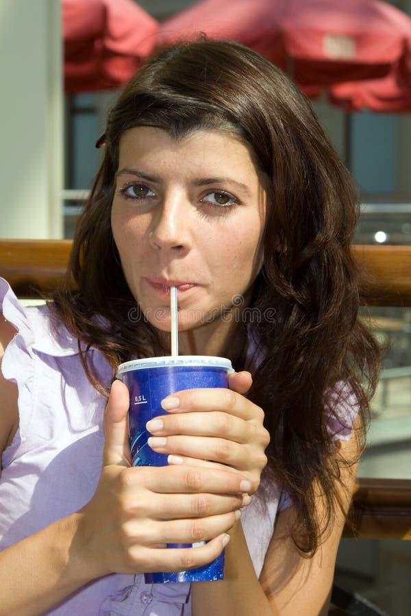 Woman drinking royalty free stock photos