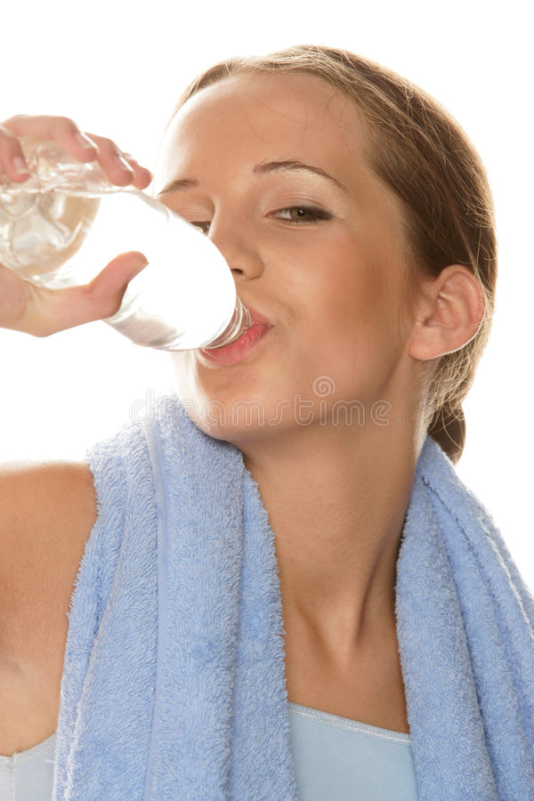 Download Woman Drinking Bottled Water Stock Photo - Image of happy, blue: 11447258