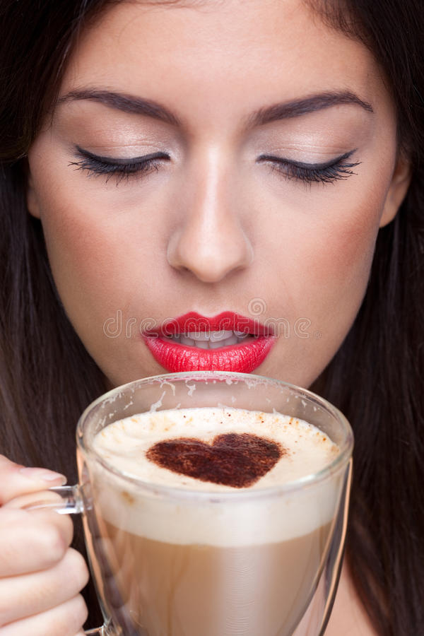 Free Woman Drinking Cappuccino Coffee With Love Heart S Stock Image - 13597911