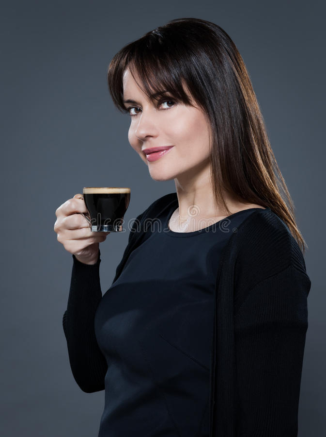 Download Woman drinking coffee stock image. Image of hair, casual - 21519177