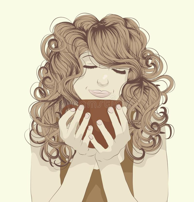 Woman drinking coffee stock illustration