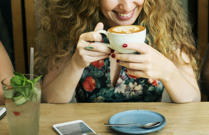 Woman Drinking Coffee Breakfast Refreshment Concept royalty free stock images