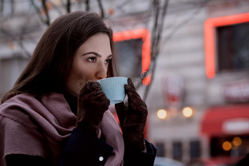 A Woman Drinking Coffee Outdoors Free Public Domain Cc0 Image