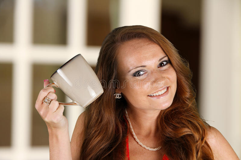 Download Woman Drinking Coffeee stock photo. Image of smile, caucasian - 25534222