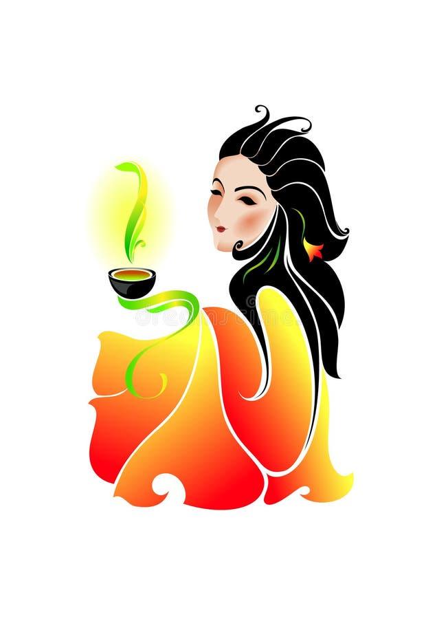 Woman drinking green tea royalty free illustration
