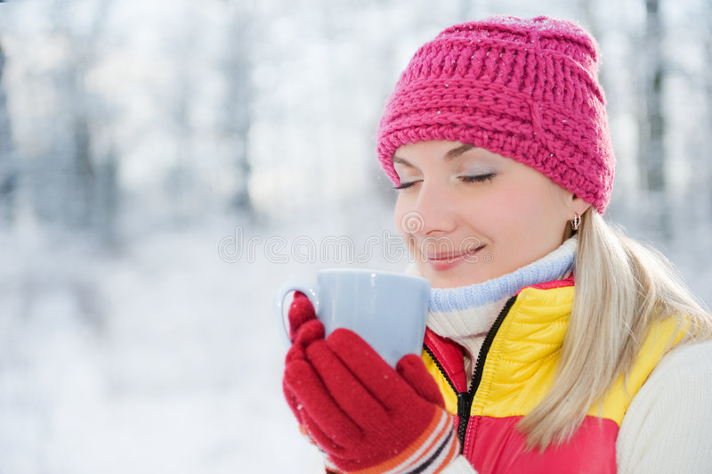 Download Woman drinking hot tea stock photo. Image of north, outdoors - 7663072