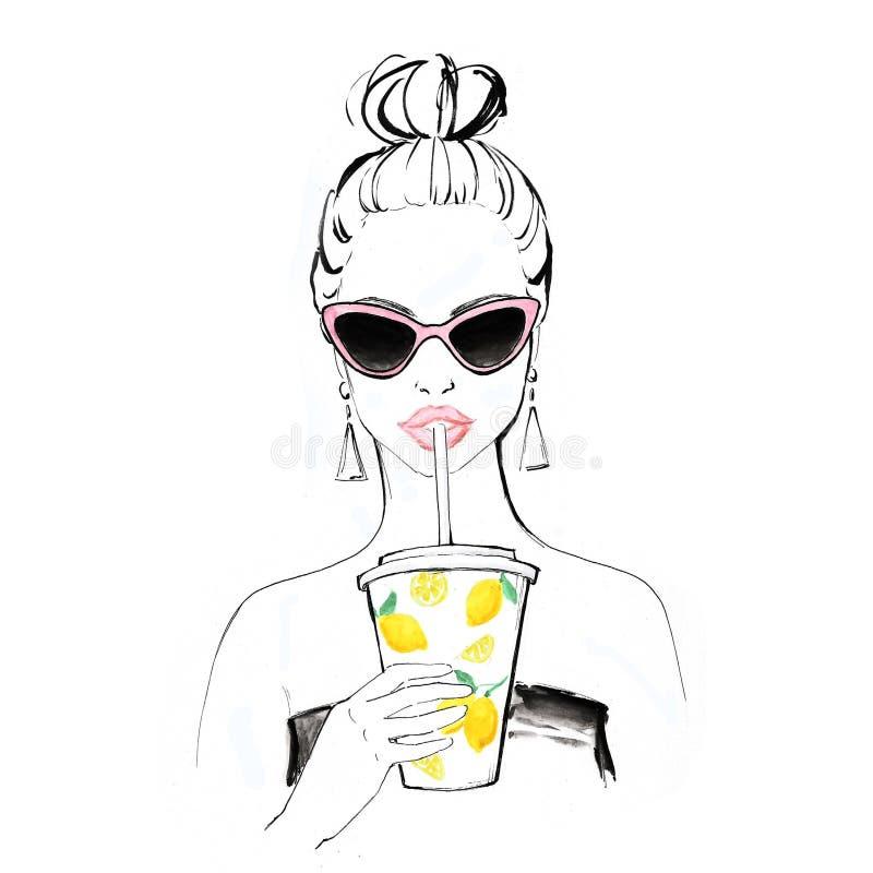 Woman drinking a lemon milkshake illustration, wearing pink vintage cat eye sunglasses. Artwork / drawing, summer vector illustration