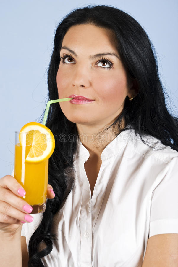 Download Woman Drinking Orange Juice  And Dream Stock Image - Image: 11073463