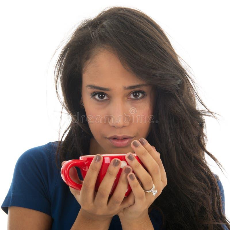 Woman drinking tea stock photos