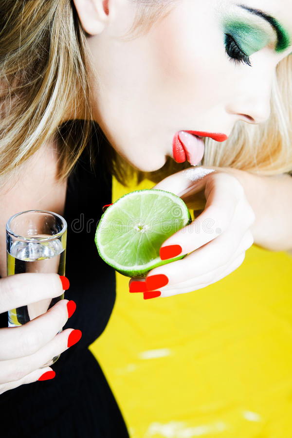 Free Woman Drinking Tequilla Royalty Free Stock Photos - 25042478