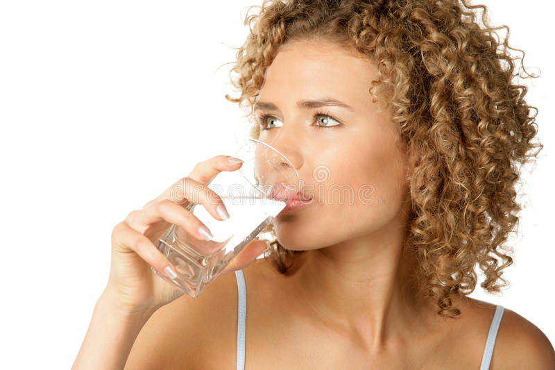 Download Woman drinking water stock image. Image of hold, blond - 11679017