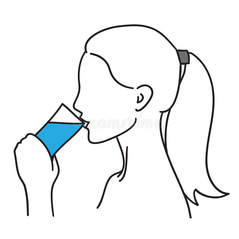 Free Woman Drinking Water Vector Illustration Black Line Stock Photo - 67546620