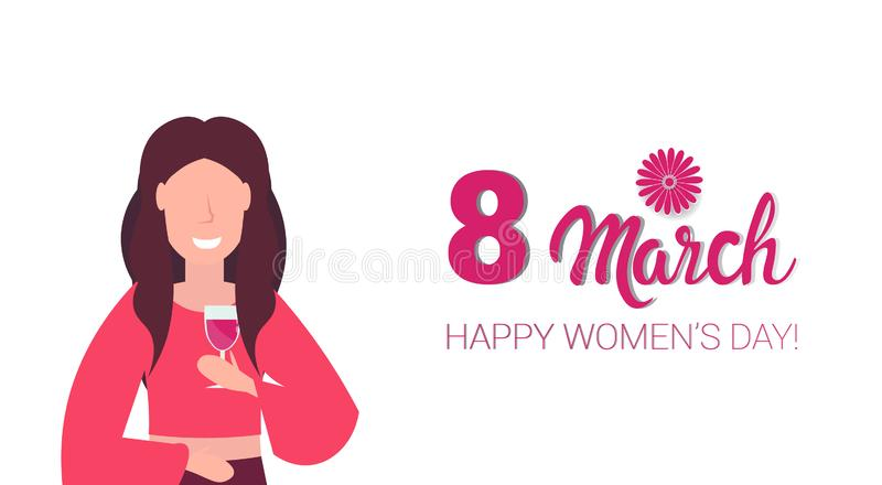Woman drinking wine happy women day 8 march holiday celebration concept female cartoon character portrait white vector illustration