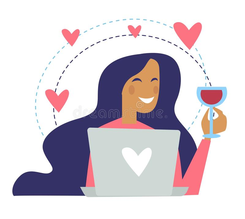 Woman drinking wine poured in glass and chatting stock illustration