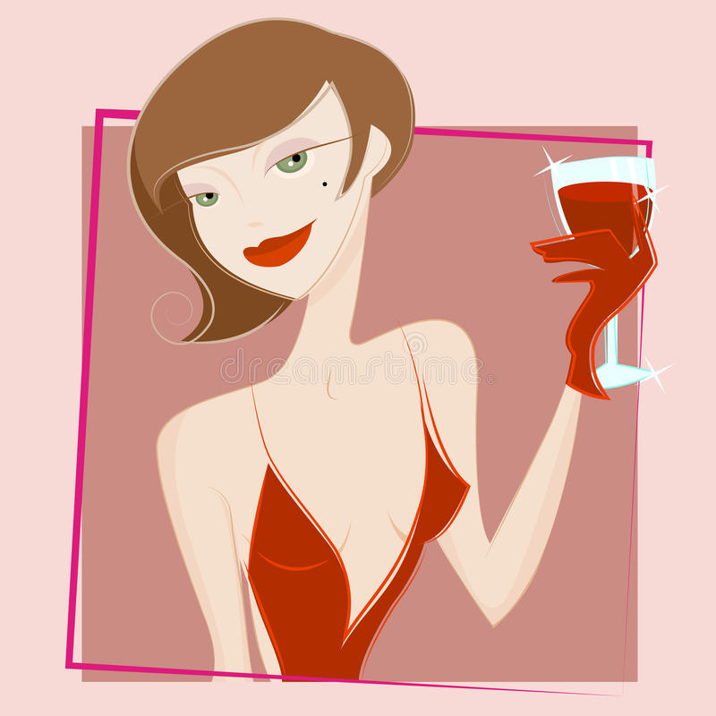 Download Woman Drinking Wine Vector Royalty Free Stock Images - Image: 10742569