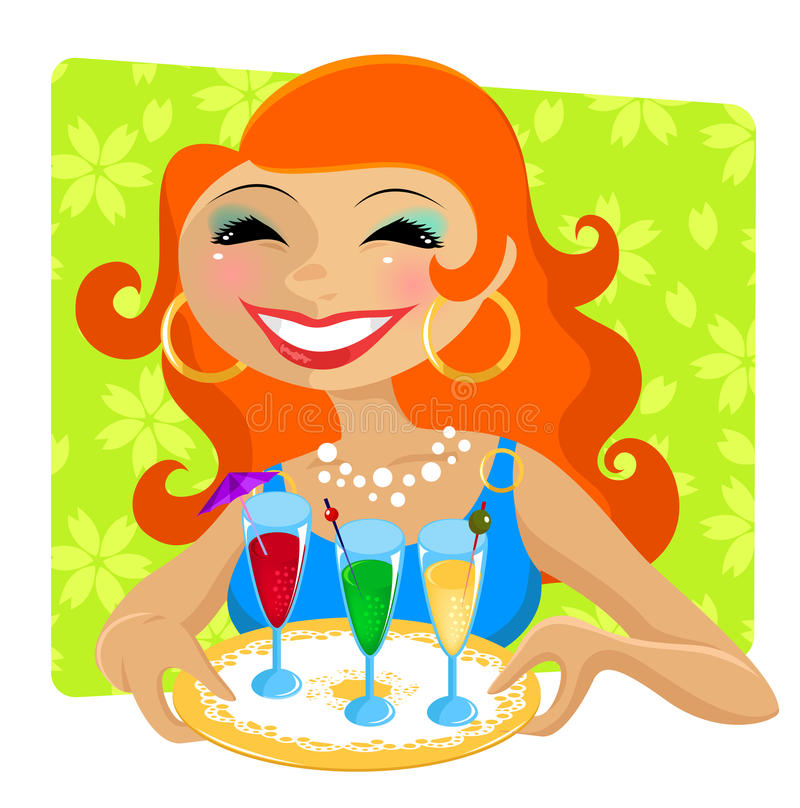 Download Woman with drinks stock vector. Image of girl, colorful - 23009312