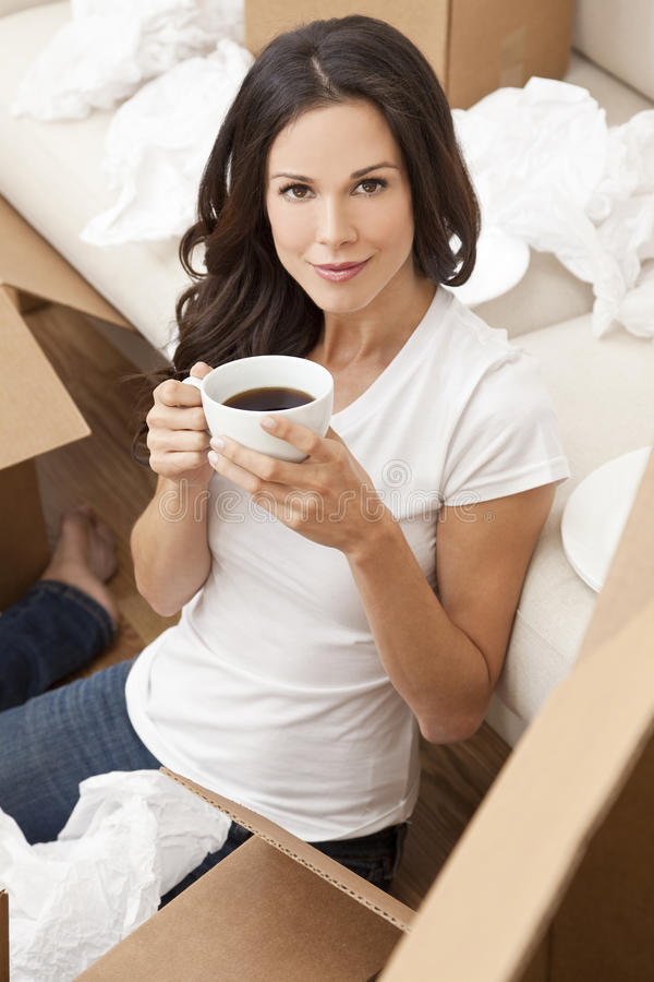 Woman Drinks Coffee Unpacking Boxes Moving House Royalty Free Stock Photos