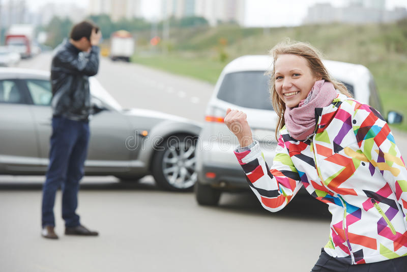Woman driver. Not guilty stock photography