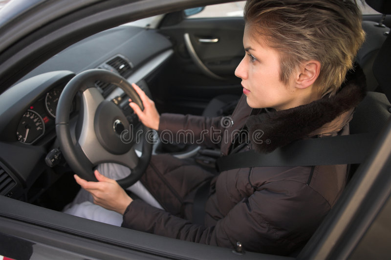 Woman driving royalty free stock photography