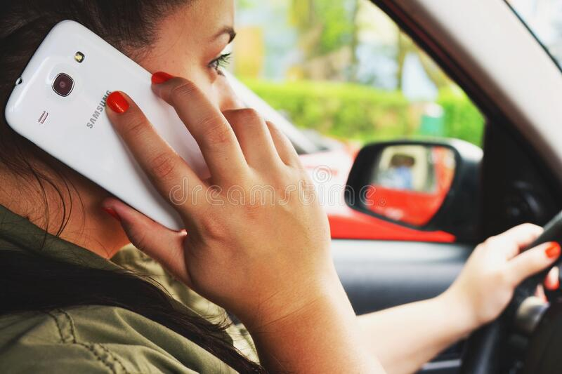Woman Driving Car On Cellphone Free Public Domain Cc0 Image