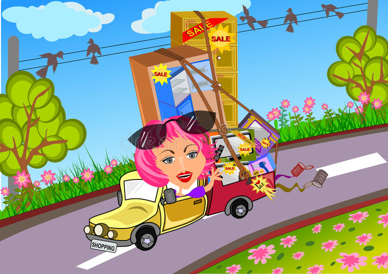 Woman driving car after shopping. Woman driving with full bagage after shopping illustration