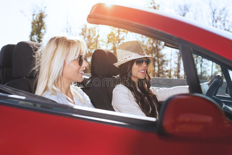 Woman driving the car royalty free stock photography