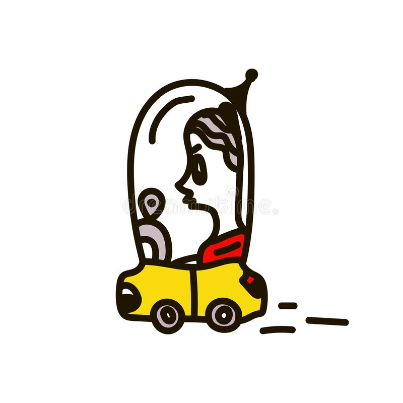 A woman driving a car. Vector illustration of the concept of human life, in the daily life of the future, cartoon character flat vector illustration