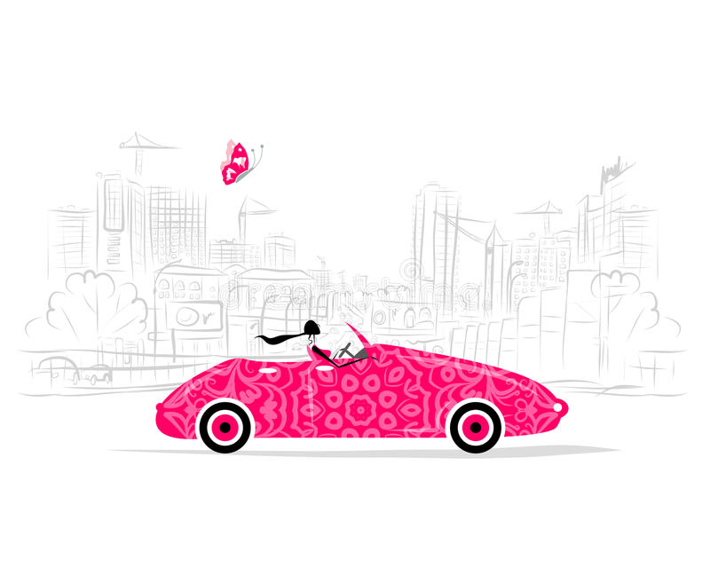 Woman driving car for your design. Vector illustration stock illustration