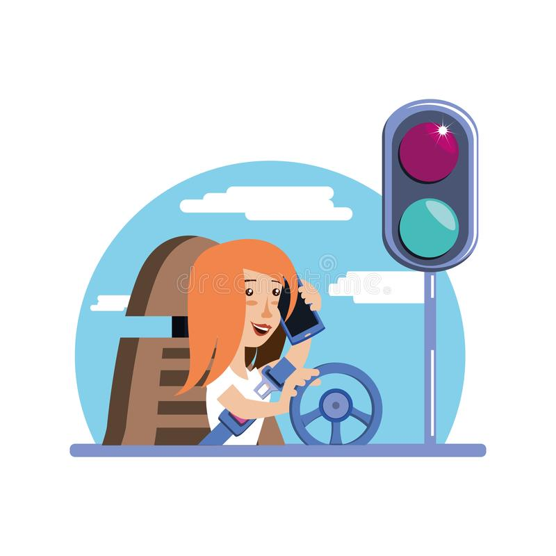 Driving And Using A Smartphone Stock Illustration