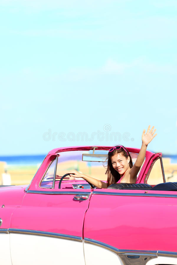 Download Woman Driving Convertible Car Waving Happy Stock Photography - Image: 24164062