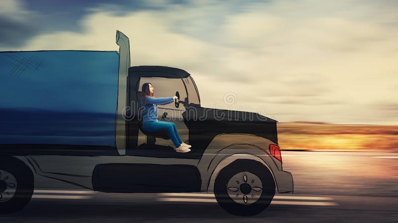 Woman driving lorry truck stock photography