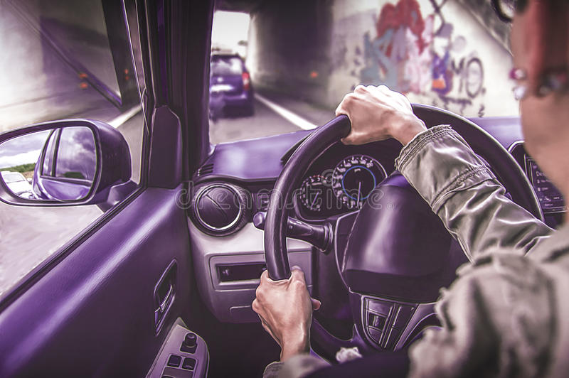 Woman driving a pink car on a busy road. Cartoon style stock photography