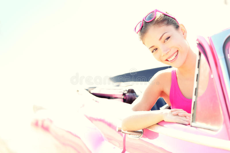 Woman Driving Vintage Retro Convertible Car Royalty Free Stock Photography