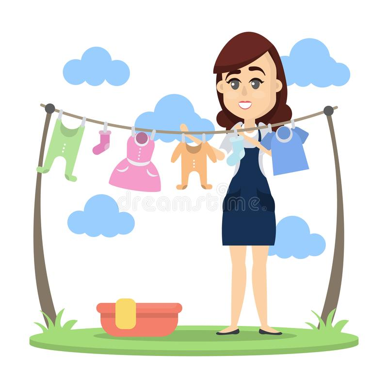 Woman drying clothes. Woman drying baby clothes outdoors with hanger vector illustration