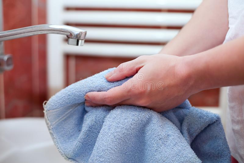 Drying Hands With Hand Towel Stock Image - Image of ...