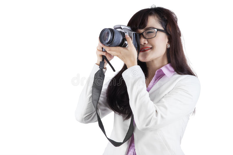 Download Woman With DSLR Camera Stock Photo - Image: 42232611