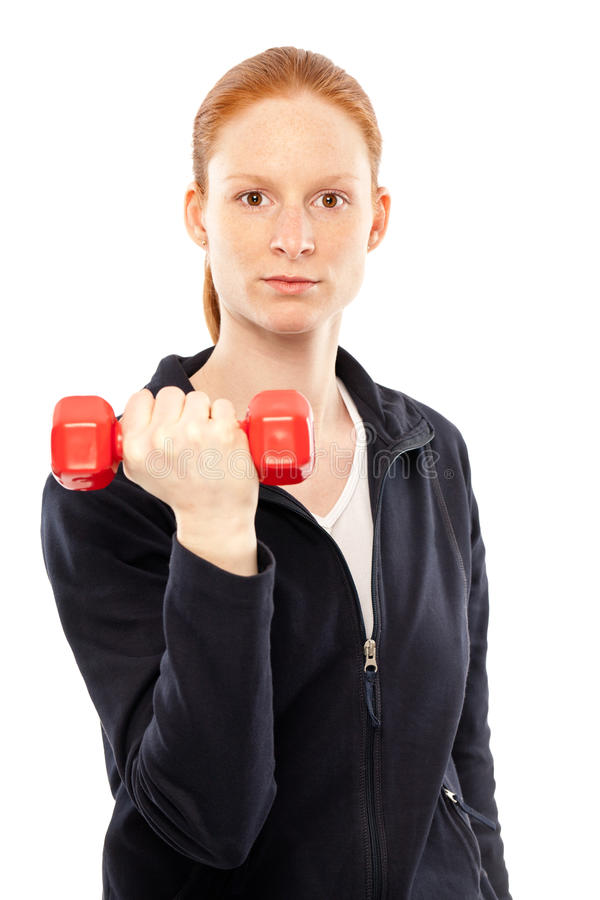 Woman With Dumbbell Stock Photography