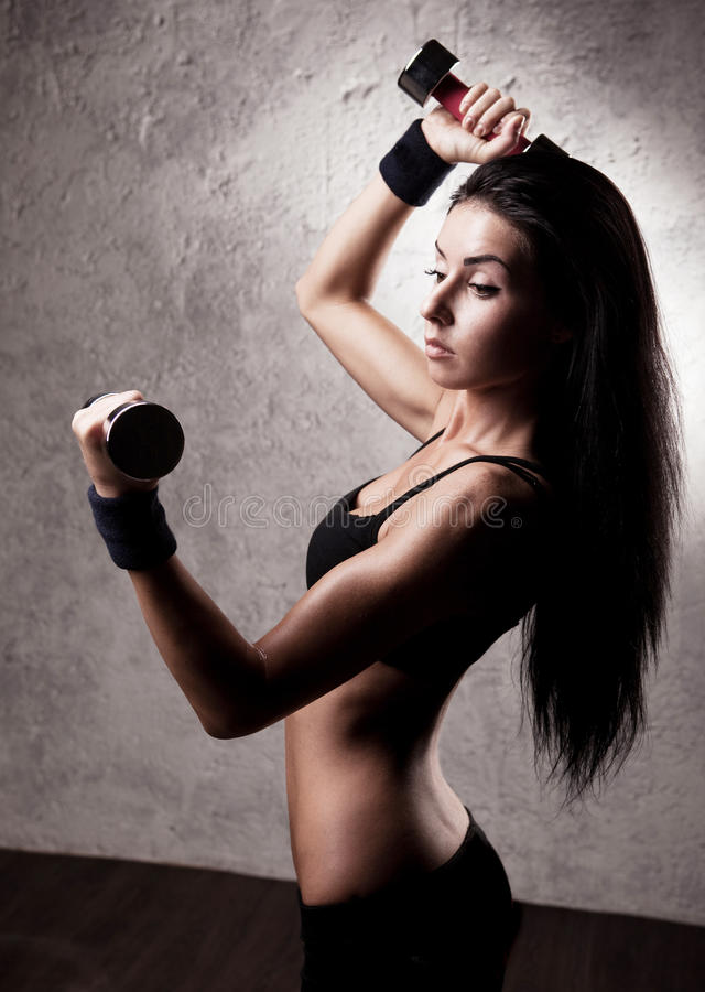 Download Woman with dumbbells stock photo. Image of health, long - 19723994