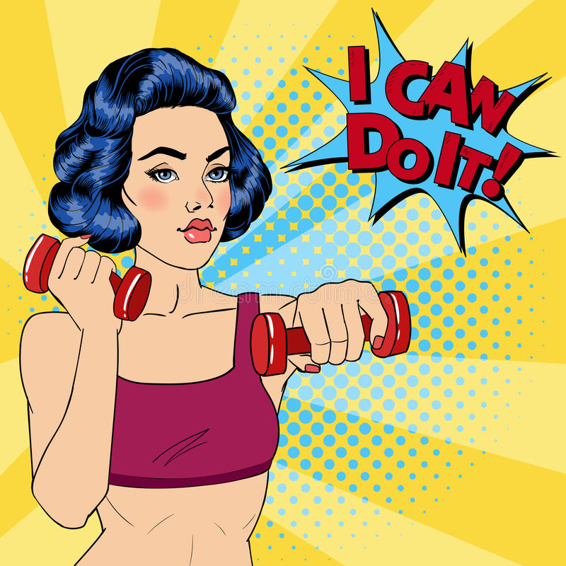 Woman with Dumbbells. Bubble I Can Do It. Fitness Girl. Pop Art. Vector illustration vector illustration