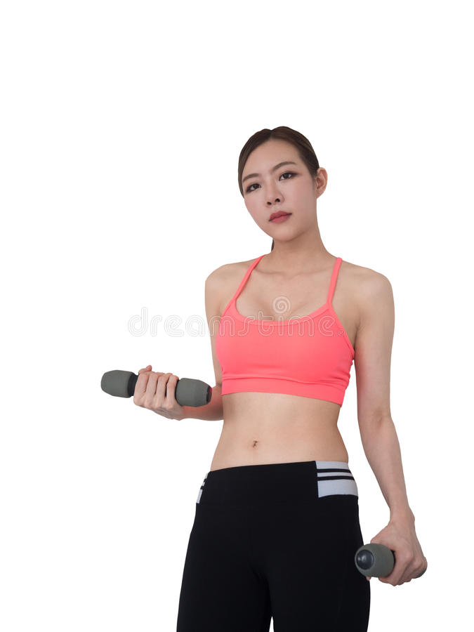 Woman with dumbbells working out isolated on white background stock images